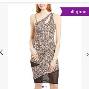BEBE Leopard Safari Mesh Inset Fitted Dress